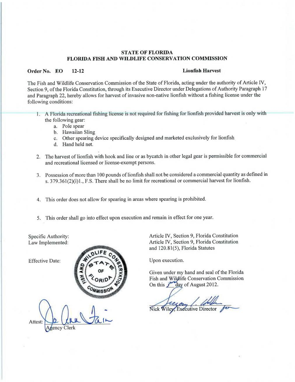 Fwc 8 3 12 executive order fishing license not required for How much is a florida fishing license